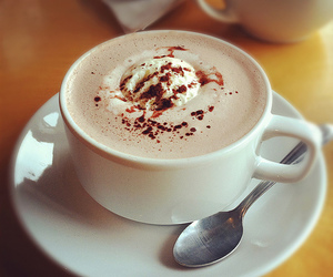 coffee, hot chocolate, and spoon image