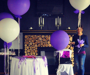 baloons, decorating, and lilac image
