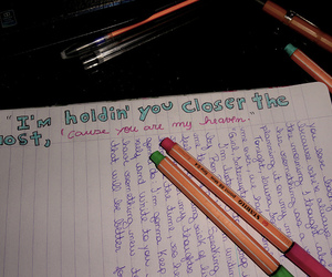 music, notebook, and song lyrics image
