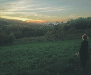 nature, girl, and sunset image