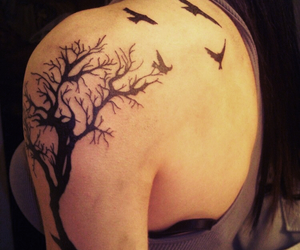 art, ink, and tree image