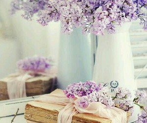 flowers, purple, and vintage image