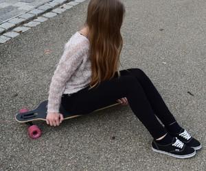 girl, longboard, and nikon image