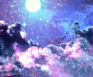 galaxy, moon, and stars image