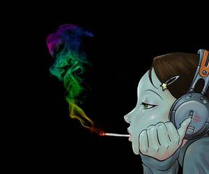 smoke, music, and cigarette image