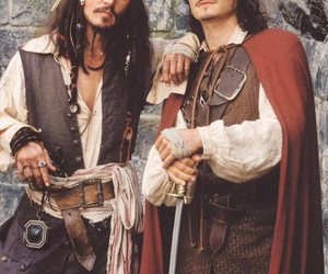 johnny depp, orlando bloom, and jack sparrow image