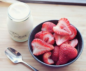 strawberry, food, and yogurt image