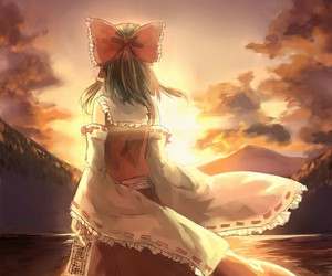 anime girl, landscape, and Miko image