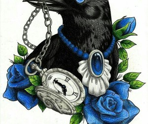 drawing, tattoo, and crow image