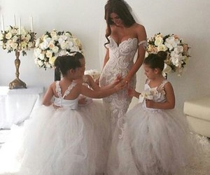 bride, family, and lace dress image