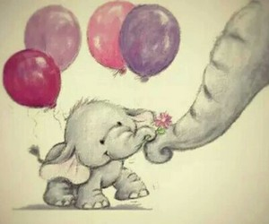 animal, balloons, and elephant image