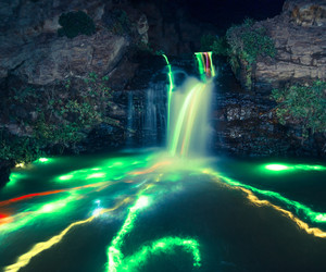 waterfall, water, and neon image