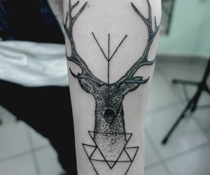 tattoo, deer, and hipster image