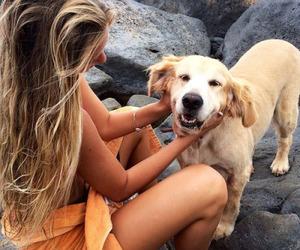 girl, animal, and dog image