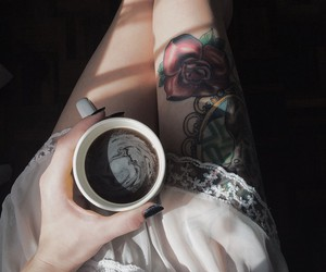tattoo, coffee, and legs image