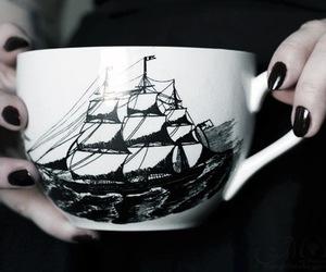 mug, cute, and black and white+ image