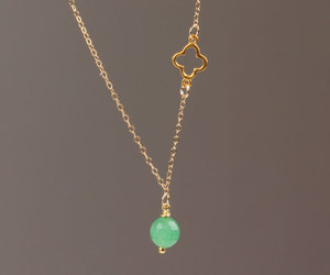 clover necklace, aventurine necklace, and natural stone pendant image