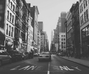 city, black and white, and nyc image