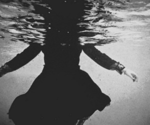 water, dress, and black and white image