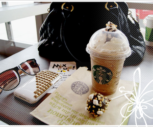 starbucks, bag, and sunglasses image