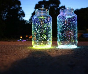 glass, glowing, and jar image