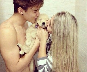 couple, puppy, and kiss image