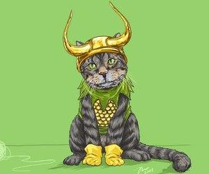 Marvel, cat, and loki image