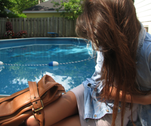 girl, hair, and pool image