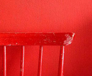 red, chair, and wall image