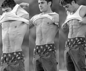 actor, zac efron, and black&white image