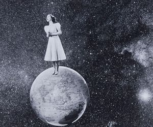 girl, moon, and black and white image
