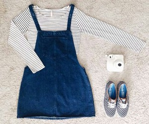 overall, shoes, and skirt image