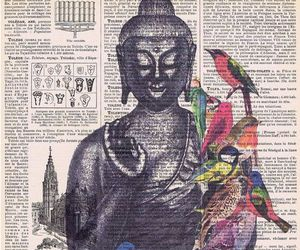 bird, Buddha, and art image