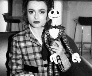 helena bonham carter, black and white, and tim burton image