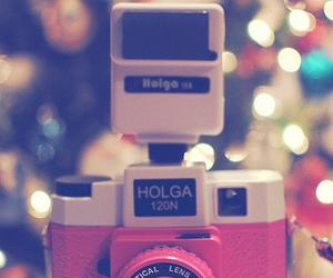 camera, pink, and holga image