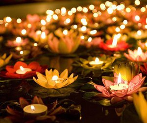 candle, light, and flowers image