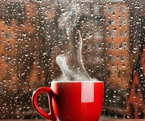rain, coffee, and cup image
