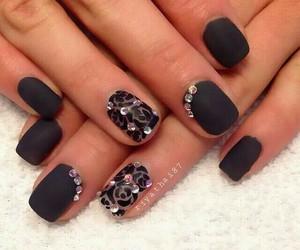 black, nail art, and nail polish image