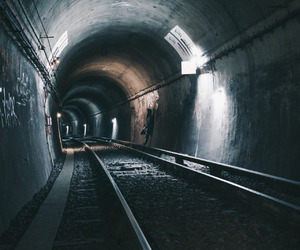 photography, tunnel, and light image