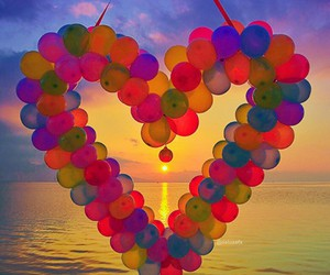 balloon, heart, and love image