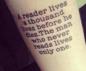 books, reader, and tattoo image