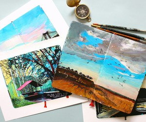 art, sky, and travel image