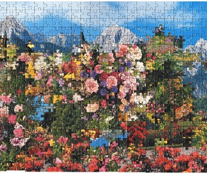puzzle, flowers, and art image