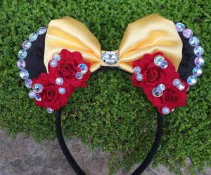 beauty and the beast, disney, and mickey mouse ears image