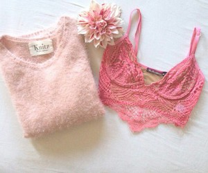 pink, roses, and sweater image