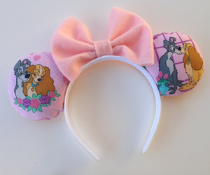 disney, lady and the tramp, and mickey mouse ears image
