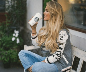 blond, coffee, and fashion image