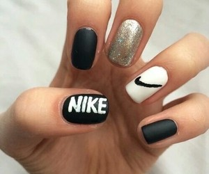 nike, nails, and black image