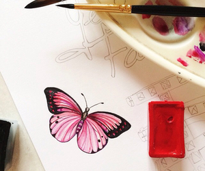 butterfly, drawing, and doll-memories image