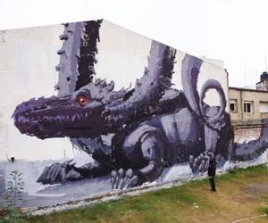 art, dragon, and grey image